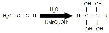 Equação geral de um alcino reagindo com reagente de Bayer