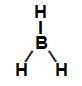 Fórmula estrutural de uma molécula de hidreto de boro (BH3)