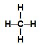 Fórmula estrutural de uma molécula de metano (CH4)