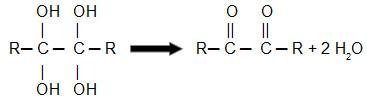 Equação geral de desidratação de um diol-gemino vicinal