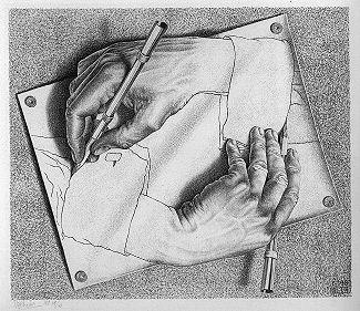 Drawing Hands – obra surrealista de Escher