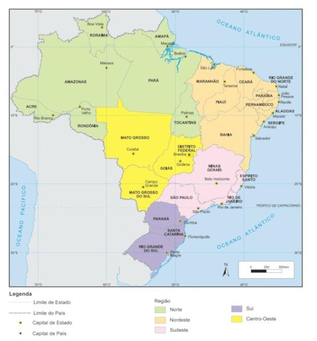 O mapa regional do Brasil divide o território brasileiro em regiões. (Fonte: IBGE)