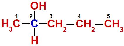 Numeração dos carbonos da estrutura do pentan-2-ol