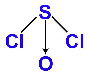 Fórmula estrutural do SOCl2 no padrão da geometria piramidal