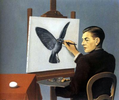 La clairvoyance, ou A perspicácia, de René Magritte. Autorretrato do artista pintando um pássaro, 1936