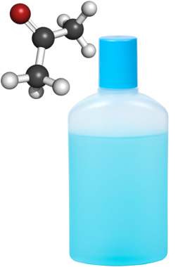 A cetona mais usada é a propanona ou acetona