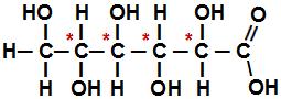Fórmula estrutural do ácido 2,3,4,5,6-penta-hidróxi- hexanoico