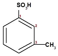 Cadeia carbônica de um ácido aromático numerada