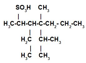 Estrutura de um ácido sulfônico saturado e ramificado