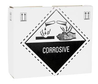 Caixa com sinal de alerta para o ácido sulfúrico (corrosivo)
