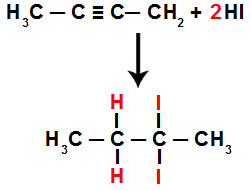 Equação da adição total do HI no but-2-ino