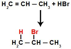 Representação da adição de hidrogênio e halogênio no hidrocarboneto