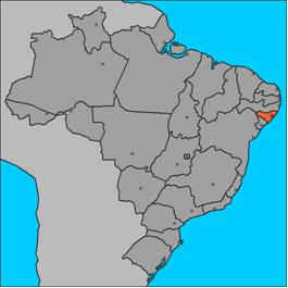 Localização de Alagoas no mapa do Brasi