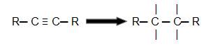 Representação do rompimento das ligações pi de um alcino