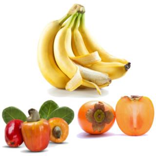 Alimentos alcalinos - bananas, cajus e caquis verdes