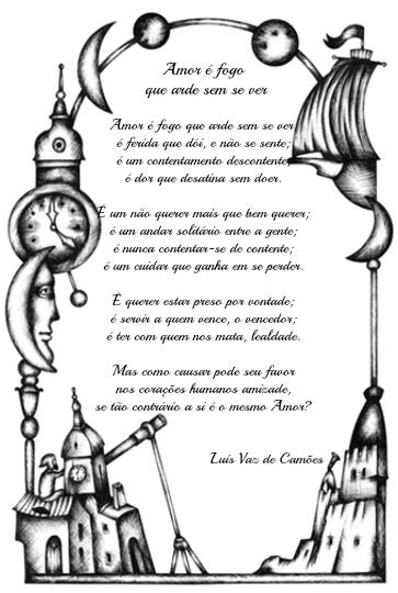 """""""Amor é fogo que arde sem se ver"""" é um dos sonetos mais conhecidos do poeta português Luís Vaz de Camões"""