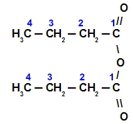 Fórmula estrutural do anidrido butanoico