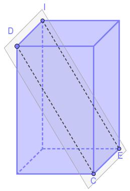 Plano que contém os segmentos CE e DI. Pela propriedade acima, esses segmentos são paralelos
