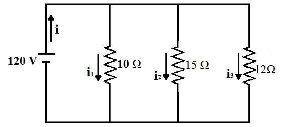 Esquema representando uma associação de resistores em paralelo