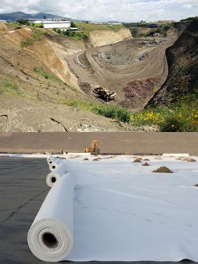 Na primeira imagem, temos um exemplo de aterro sanitário no Equador, já na segunda temos um aterro sendo construído