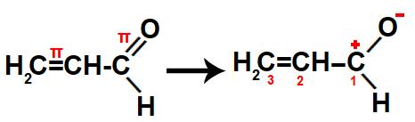 Representação da atração de elétrons pelo oxigênio no propenal