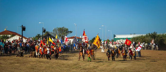 Encenação da Batalha de Aljubarrota, travada em 14 de agosto de 1385.**