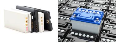 Exemplos de baterias (de celulares e de automóveis) usadas no cotidiano