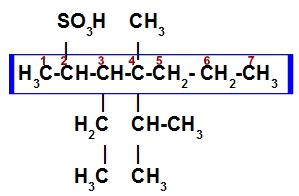 Cadeia principal e numeração do ácido sulfônico ramificado
