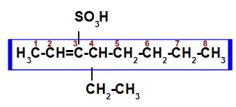 Cadeia principal e numeração do ácido sulfônico insaturado e ramificado