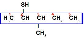 Cadeia principal e numeração do 3-metil-pentan-2-tiol