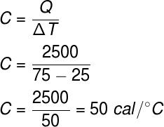 Cálculo da capacidade térmica