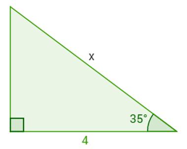 Triângulo retângulo com um ângulo agudo de 35°