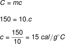 Cálculo do calor específico – exercício 2