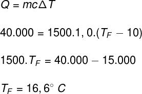 Cálculo da temperatura final – exercício 3