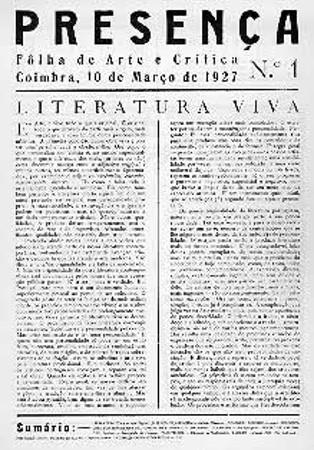 Capa da primeira edição da Revista Presença. Lançada em Coimbra, em 10 de março de 1927, teve seu último número publicado em 1940