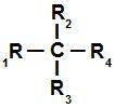 Representação geral de um carbono quiral ou assimétrico