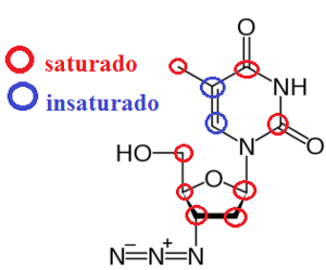 Carbonos saturados e insaturados em molécula de AZT