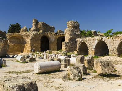 Ruínas de Cartago, a principal cidade construída pelos fenícios no Norte da África