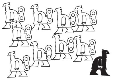 A linguagem não verbal pode produzir efeitos interessantes, dispensando assim o uso da palavra. Cartum de Caulos, disponível em www.caulos.com