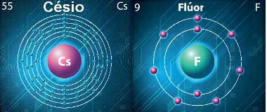 Átomos de césio e flúor