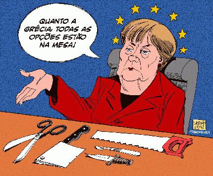 Charge crítica sobre a crise da Grécia e a União Europeia