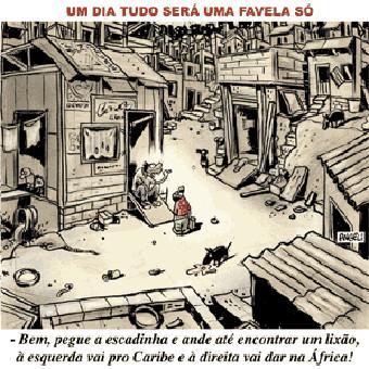 Charge sobre a formação e difusão das favelas