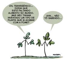 Charge sobre os alimentos transgênicos