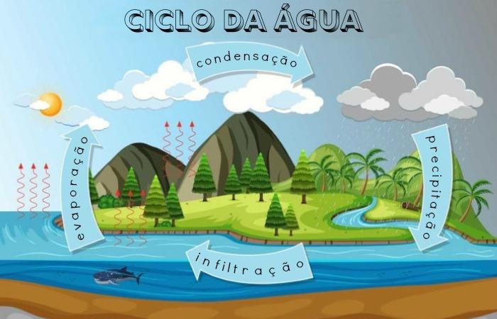 O ciclo da água corresponde à circulação da água em diferentes estados físicos.