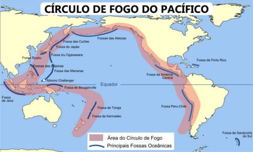 Mapa de localização do Círculo de Fogo do Pacífico