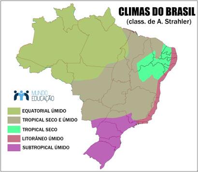 Mapa dos tipos climáticos brasileiros com base na classificação de A. Strahler