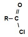 Fórmula estrutural geral de um cloreto de ácido