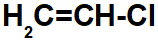 Fórmula estrutural do cloreto de vinila.