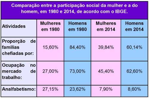 Comparação entre a participação social da mulher e a do homem, em 1980 e 2014, de acordo com o IBGE