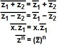 Observe como são feitas as operações com conjugados de um número complexo